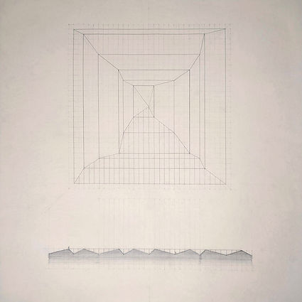 Architectural drawing in black ink of a square building seen diagonally from above