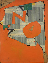 The word NO collaged in orange paper over a gray background which looks like old linoleum tiles