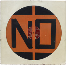 Boris Lurie (1924-2008)  NO Record, 1962  assemblage:vinyl with oil paint mounted on board  14 x 14 inches