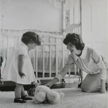 Jacques Lowe (1930-2001)  Jackie Kennedy and Caroline in the nursery, Georgetown  photo summer 1959  vintage gelatin silver print, signed, stamped  paper size > 14 x 11 inches