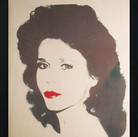 Andy Warhol  Jane Fonda, circa 1980s unique screenprint on newsprint on linen, stamped ©ANDY WARHOL Authenticated by AWAAB  unframed size > 48 x 36 inches