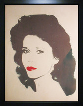 Framed screenprint in black and red on newsprint of Jane Fonda by Andy Warhol