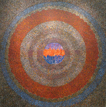 Acrylic on canvas painting of orange, brown, blue concentric circles, on a detailed background