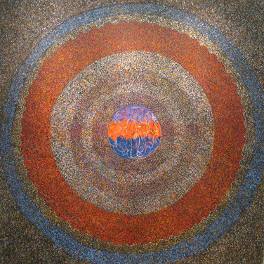 James Juthstrom (1925-2007) Untitled (Orange Circles), circa 1980s acrylic on canvas 67.25 x 66.25 inches