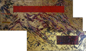 Modular painting with waves and swirls of dark violet and gold, with a red bar and a dark purple bar