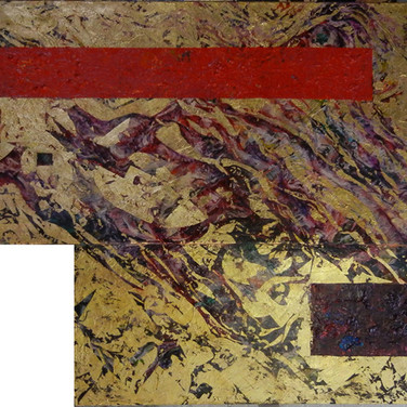 Charles Meyers  Untitled [Red & Violet], circa 2000s  acrylic, gold leaf on canvas, signed  50 x 85 inches