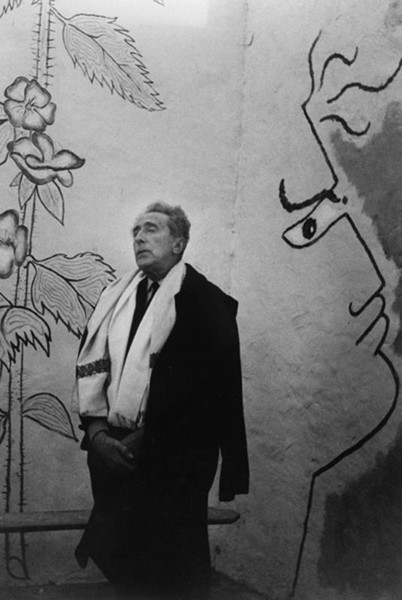 Lucien Clergue [1934-2014]  Jean Cocteau in the chapel Sainte-Blaise, which he decorated, at Milly-la-Forêt  photo 1959 [printed later]  gelatin silver print, edition of 30 MF, signed  Paper Size: 15.75 x 11.25 inches   40.0 x 28.6 cm Image Size: 15 x 10.25 inches   38.1 x 26.0 cm