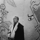 Lucien Clergue [1934-2014]  Jean Cocteau in the chapel Sainte-Blaise, which he decorated, at Milly-la-Forêt  photo 1959 [printed later]  gelatin silver print, edition of 30 PF, signed  paper size > 16 x 12 inches