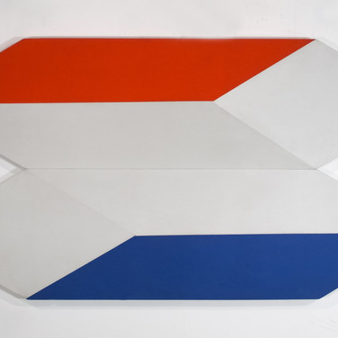 Charles Hinman Docking in Space,1970  acrylic on shaped canvas 29 x 56 inches