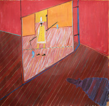 Acrylic on canvas painting of a red interior, a man wearing a hat carrying a balancing rope with fish at the end, and his shadow on floorboards