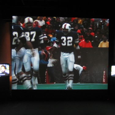 Roger Welch O.J. Simpson Project, 1977 film and video installation size variable  First exhibited at the Albright Knox Art Gallery, Buffalo, New York, 1977