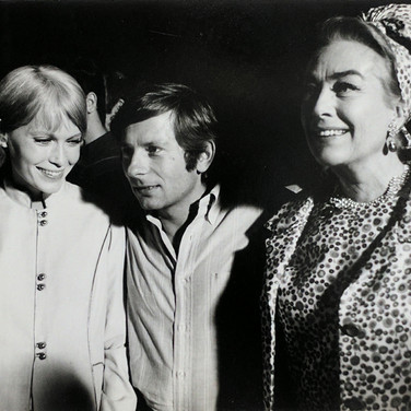 """Photograph by Hatami (1928-2017) Mia Farrow, Roman Polanski and Joan Crawford, New York City, on the set of """"Rosemary's Baby"""" photograph 1968 vintage gelatin silver print, signed, stamped 7.75 x 10.8 inches"""
