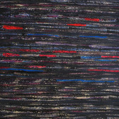 James Juthstrom [1925-2007] Untitled [Black & Red], circa 1960s mixed media on artist paper, 21.5 x 24.5 inches
