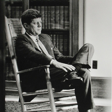 Jacques Lowe (1930-2001)  John F. Kennedy in his Senate office  photo 1959 [printed later]  gelatin silver print signed  paper size > 20 x 16 inches