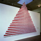 """Nobuho Nagasawa Nuke Cuisine, 1992 835 """"Cloud of Mushroom"""" Soup cans  From """"The Atomic Cowboy: The Daze After,"""" Daniel Saxon Gallery, Los Angeles, California, 1992"""