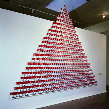 "Nobuho Nagasawa Nuke Cuisine, 1992 835 ""Cloud of Mushroom"" Soup cans  From ""The Atomic Cowboy: The Daze After,"" Daniel Saxon Gallery, Los Angeles, California, 1992"