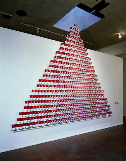 """NOBUHO NAGASAWA Nuke Cuisine (1992) 835 """"cloud of mushroom"""" soup cans dimensions variable  Installation from """"The Atomic Cowboy: The Daze After"""" at Daniel Saxon Gallery, Los Angeles, CA, 1992."""