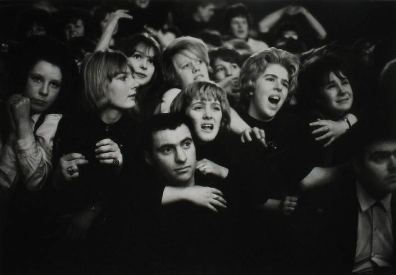 Beatlemania, Liverpool, 1963 vintage gelatin silver print Image Size: 9 x 13 inches   22.9 x 33.0 cm  Photography by Hatami (1928-2017)
