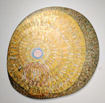 Gold, yellow acrylic on canvas painting on circular stretcher, with concentric circles created from brushwork