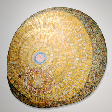 James Juthstrom (1925-2007) Gold Center, circa mid-1970s acrylic, gold leaf on canvas diameter 62 inches