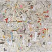 Mikhail Gubin,  New York 2038, Bird's Eye Panorama,  2013 drawing, mixed media mounted on board, 44 x 48 inches
