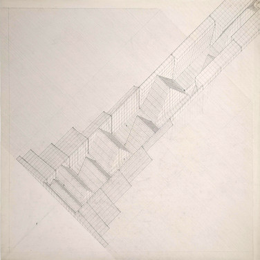Will Insley (1929-2011) Study for /Building/ No. 26, Dream Space Behind a Facade 3, 1971 ink on ragboard 30 x 30 inches