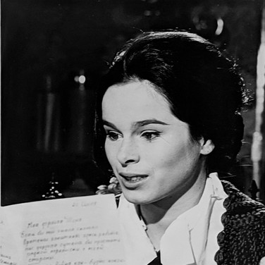 Photograph by Hatami (1928-2017) Geraldine Chaplin practicing a scene during which she received a letter from Yuri Zhivago photograph 1965 vintage gelatin silver print, signed, stamped 11.5 x 8 inches