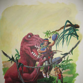 """Turok: Son of Stone  """"Andar's Helpful Honker"""" George Wilson  Issue # 115/ May 1978  Watercolor, gouache on bookboard, 20 x 15 inches"""