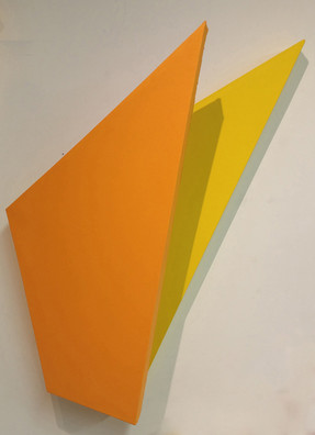 CHARLES HINMAN (b. 1932)  Yellow Wing, c. 2010  acrylic on shaped canvas  37 x 36 x 12 inches