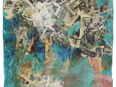 Boris Lurie (1924-2008)  Untitled (Torn Pinups), c.1962  paper collage, paint, and glue on fabric  47 x 46.5 inches