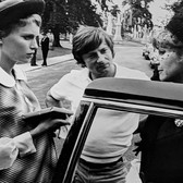 """Photograph by Hatami (1928-2017) Mia Farrow, Roman Polanski and Hanna Landy, New York City, on the set of """"Rosemary's Baby"""" photograph 1968 vintage gelatin silver print, signed, stamped 7.75 x 11 inches"""