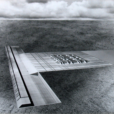 WILL INSLEY (1929-2011) /Buildings/ No. 19-20 Interior Building Corridor of Life Gate – view from the air, 1970-72 vintage photomontage 47.5 x 47.5 inches
