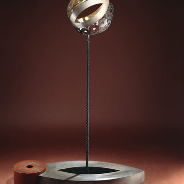 Jeff Maron  Birth of the World, 1995  unique etched copper alloy with polychrome oxides,  61 x 42 x 15 inches