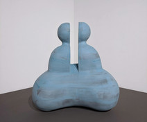 """Light blue stoneware sculpture of an abstract bisected humanoid, """"Sababa Bodhi,"""" 2004"""