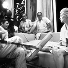 """Douglas Kirkland  On the set of """"A Place for Lovers"""". Vittorio de Sica, Marcello Mastroianni, Faye Dunaway  photo 1967 [printed later]  archival pigment print on watercolor paper, edition of 24, signed, numbered  paper size > 20 x 24 inches"""