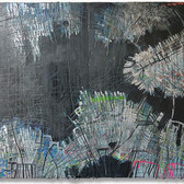 Guillaume Paturel,  NY  2013 acrylic, collage on wood, 8 x 4 feet