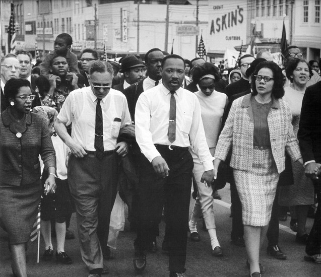 BOB ADELMAN (1930-2016) Leading 25,000 marchers, King enters downtown Montgomery, Alabama photo 1965 [printed later]  gelatin silver print, edition of 15, signed, numbered  Paper Size: 16 x 20 inches | 40.6 x 50.8 cm