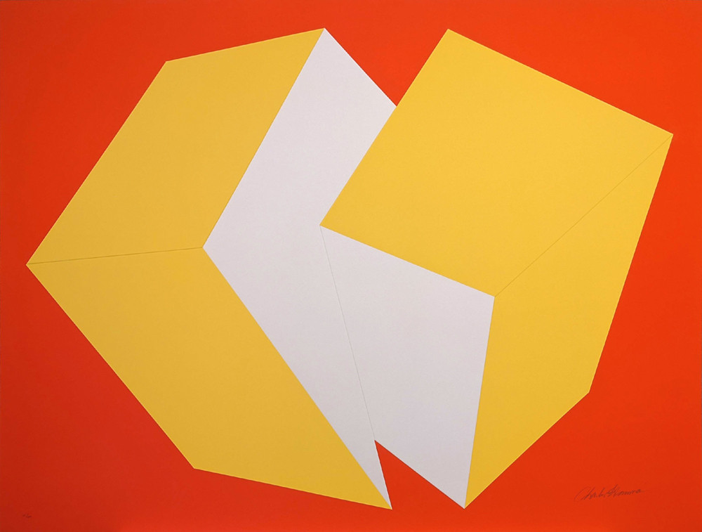 CHARLES HINMAN Yellow on Red, 1972  silkscreen on embossed paper, edition of 200, signed, stamped Paper Size: 25.5 x 34.25 inches | 64.8 x 87.0 cm Unframed