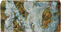 Boris Lurie (1924-2008)  NO with torn papers, 1963  collage: paper on canvas board  13 x 25 inches