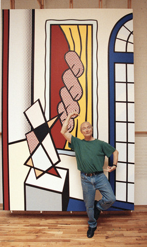 """BOB ADELMAN (1930-2016)  Roy Lichtenstein demonstrating how to view the dancer in """"Large Interior with Three Reflections""""  photograph 1993 (printed later)  archival pigment print, AP signed paper size > 17 x 10 inches"""