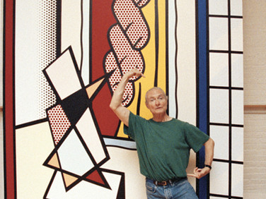 "BOB ADELMAN (1930-2016)  Roy Lichtenstein demonstrating how to view the dancer in ""Large Interior with Three Reflections""  photograph 1993 (printed later)  archival pigment print, AP signed paper size > 17 x 10 inches"