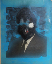 Painting of male bust portrait in suit and tie with face covered over in paint, gray and blue background