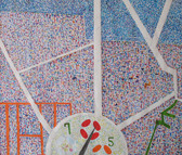 Semi-abstract watercolor painting of a flower sundial an elaborate detailed background of red and blue small circles