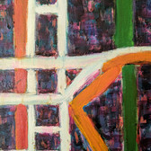 Detail of white, orange, green and blue lines and background from an acrylic painting