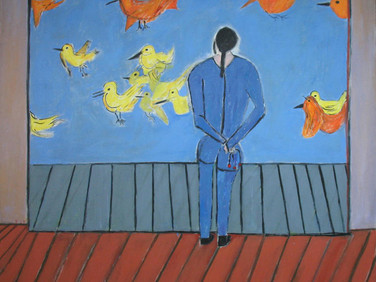 JAMES JUTHSTROM (1925-2007)  Untitled (Birds), circa 1970s  acrylic on canvas 76.75 x 68.75 inches
