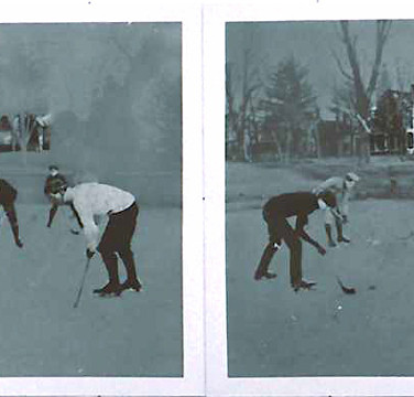 Roger Welch Hockey, 1979 diptych, watercolor ink on photograph mounted on museum board 24 x 60 inches Private collection, Italy