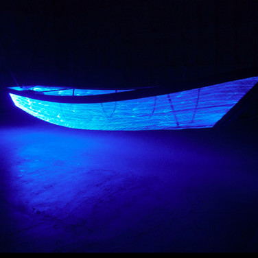 Voyage through the Void (Umi no Utsuwa), 2013 woven optical fiber, stainless steel frame, light, sound  Installation at the Setouchi Triennial, Shodoshima Island, Japan