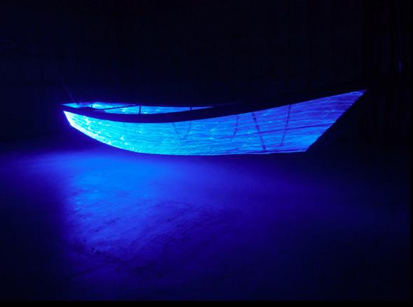 NOBUHO NAGASAWA Umi no Utsuwa (Voyage through the Void) (2013) woven optical fiber, stainless steel frame, light, sound dimensions variable  Installation at the Setouchi Triennial, Shodoshima, Japan, 2013.