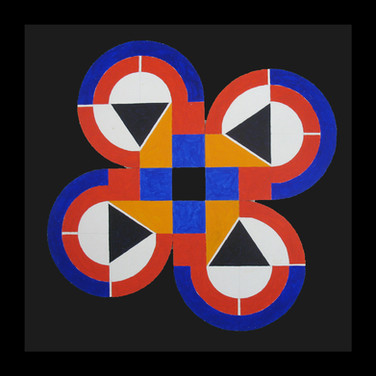 Will Insley [1929-2011] Structural Model for Larger Work #4, circa 1950s acrylic on ragboard, 10 x 10 inches