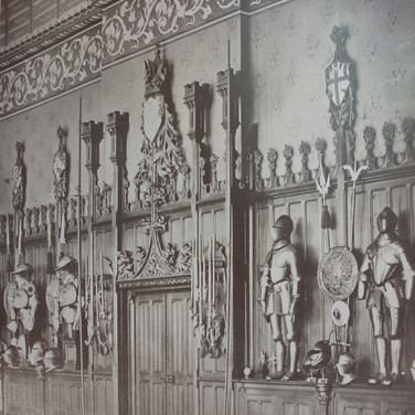 Séraphin-Médéric Mieusement (1840- 1905)  Château de Pierrefonds Interior, circa 1880s   albumen print mounted on bookboard, inscribed, stamped  17 x 10.5 inches